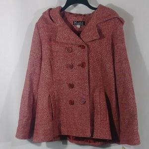 Mudd women's red pea coat jacket size XL